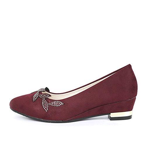 Senhoras Bombas Modernas Relâmpago Ornamento Bloco Calcanhar Pontas Do Dedo Do Pé Slip-on Confortáveis sapatos De Casamento Vermelhos