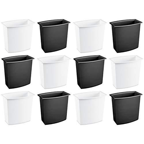 Sterilite 102200122Gallonen/7,6Liter rechteckig Abfalleimer Vanity, Schwarz/Weiß, 12Stück -