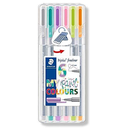 Staedtler 334 SB6CS1 triplus Fineliner Pastel Colours (ergonomischer Dreikantschaft, auswaschbar, Strichbreite 0,3 mm, 6 farblich sortierte Fineliner in Pastellfarben, aufstellbare Staedtler Box) -