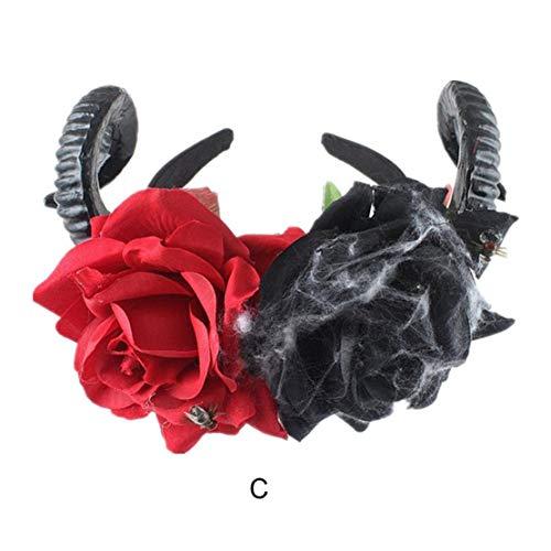 happy event Halloween Stirnband Yak Horn Haar Tiara Stirnband Haarreif Kopfschmuck | Unechte Blumen | Künstliche Party Deko Blumen Gefälschte | Artificial Flowers (C)