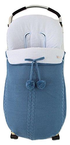 Saco silla de paseo universal de invierno en punto de lana y algodón de rayas. Modelo sophie. Azul/azul...
