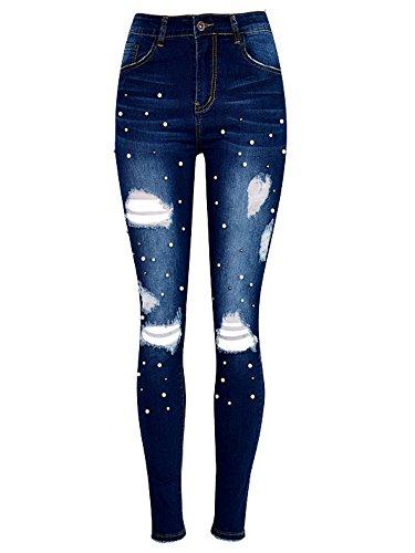JeansForest Damen Destroyed Perle Loch Skinny Jeans Hosen