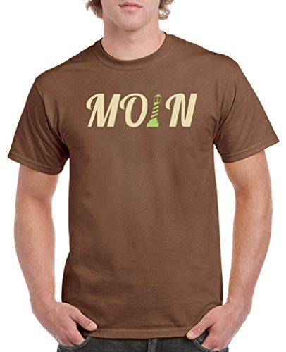 Comedy Shirts - Moin Leuchtturm - Herren T-Shirt - Braun / Beige-Hellgrün Gr. M