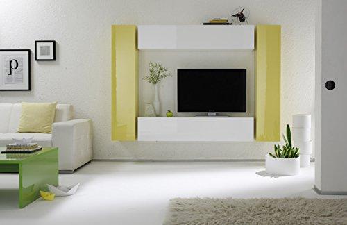 Box 2 b bianco lucido e giallo lucido parete attrezzata soggiorno moderna porta tv