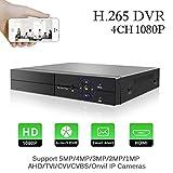 H.265 4CH 1080P CCTV DVR Vidéo Enregistreur Aottom 5 en 1 HVR Onvif NVR, AHD/TVI/CVI/Onvif IP/CVBS, HDMI, Détection de Mouvement Alarme Email, Surveiller à Accès par PC, pour 2MP, 3MP, 5MP Caméra