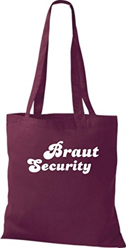 Shirtstown Stoffbeutel JGA Braut Security viele Farben weinrot
