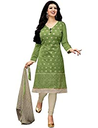 Regalia Ethnic Women's Cotton Dress Material (MFRE137_Free Size_Green)