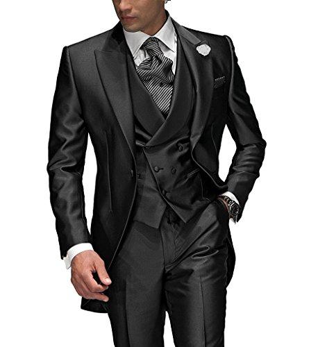 Suit Me Tailored Herren 3-Teilig Anzug Fuer Hochzeiten Party Smoking Anzug Sakko,Weste,Hose Charcoal S