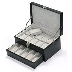 "Davidt's Unisex Watch Box For 15 Watches ""Chrome"" 378579.01 Black"