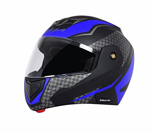 Vega Crux Flip Up Helmet, 57 Cms - 59.5 Cms, Large(Black and Blue)