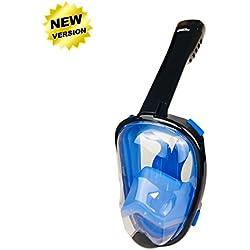 Masque de plongée panoramique intégral, ZMZTec 2018 NOUVEAU pliable Masque de plongée Plein Visage 180° , anti-buée et anti-fuite, Snorkel masque de plongée libre respirant (Bleu L/XL)