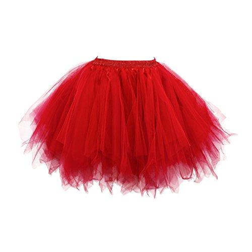 DealBang Damen Kurz Tutu Unterkleid Tulle Rock Ballett Tanzkleid Retro Petticoat Unterröcke (L, Rot) (50er Jahre Tanz Kostüme)