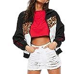Manadlian Damen Winterjacke Cool Frau Beiläufig Leopard Drucken Nähte Mantel Reißverschluss Jacke Lange Ärmel Mantel