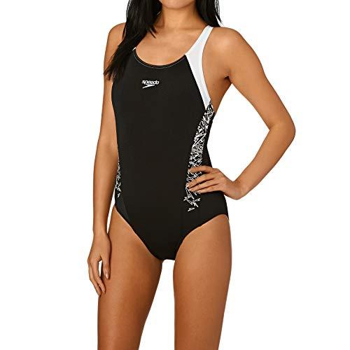 Speedo Damen Boom Splice Muscle Back-108213503 Badeanzug, Mehrfarbig (Black/White), DE 40