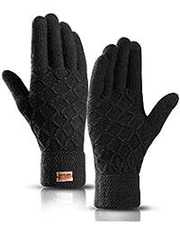 Touchscreen Winterhandschuhe, Winter Strick Handschuhe, Warme Fahrradhandschuhe mit Weichem Futter Elastische Manschette, Warme Sports Handschuhe für Texting, Radfahren, Outdoor Aktivitäten