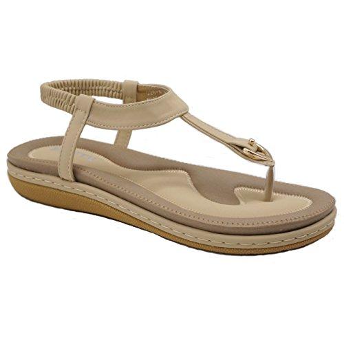 Women's summer sandals bohemia folk rhinestone elastic t-strap flat shoes clip toe flip flops thong for beach walking on vacation (42 eu, albicocca elegante)