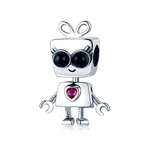 Reiko Roboter 925 Sterling Silber Bead Charms DIY baumeln Anhänger Perlen für Armbänder oder Halsketten, Halloween Mädchen Frauen, Geschenk-Boxen, Nickel-frei