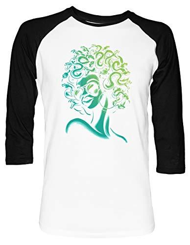 Irre Meduse Unisex Baseball T-Shirt 2/3 Ärmel Herren Damen Weiß Schwarz