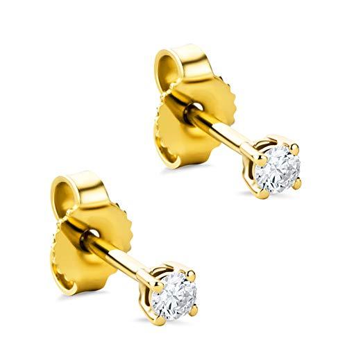 Orovi Damen Ohrringe mit Diamanten Gelbgold Solitär Ohrstecker 14 Karat (585) Gold und Diamant Brillanten 0.12 Ct Ohrring Handgemacht in Italien (Diamant-ohrringe Gold)