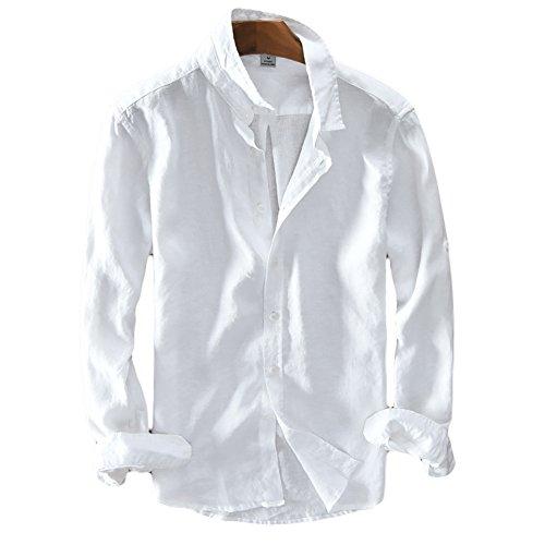 ICEGREY Herren Leinen Hemden Beiläufig Langarm Leinen Shirts Strand Hemden Weiß 56 (Weiße Leinen-shirt)