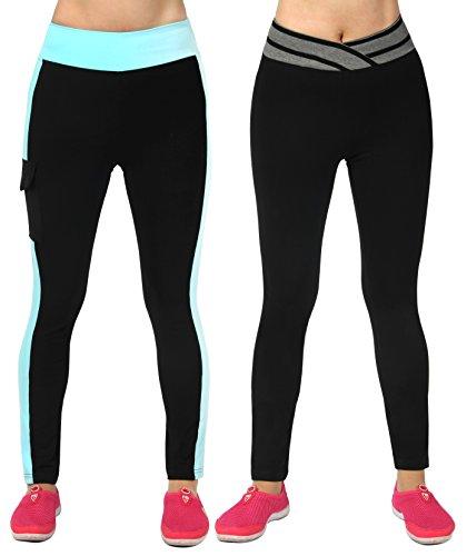 iLoveSIA® Femme Leggings de sport pantalons 2Pcs Pack (Noir/Gris+Bleu)
