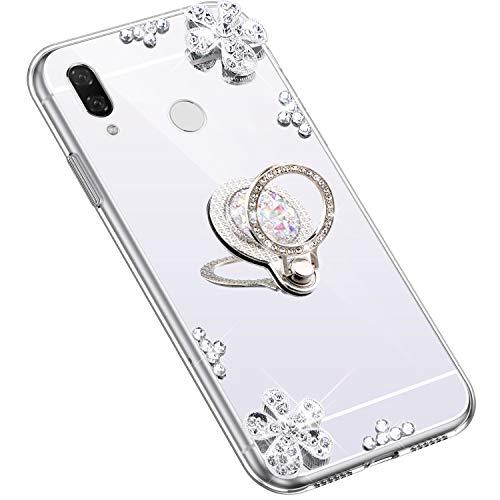 Uposao Kompatibel mit Huawei Nova 3i Hülle Glitzer Diamant Glänzend Strass Spiegel Mirror Handyhülle mit Handy Ring Ständer Schutzhülle Transparent TPU Silikon Hülle Tasche,Silber