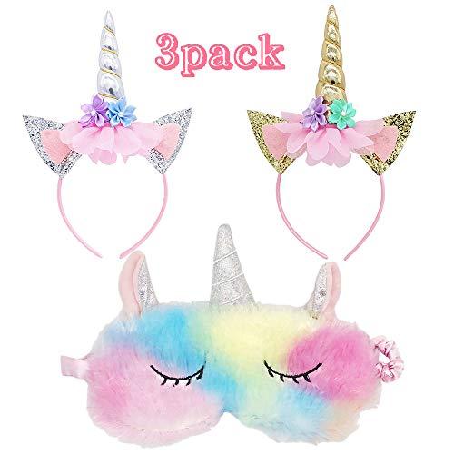 Einhorn Stirnband Augenmaske Set Niedlich Einhorn Horn Weicher Plüsch Augenschutz Augenschutz für Frauen Mädchen Little Pony Dress Up Fun Einhorn Geschenk für Mädchen (3 Stück)