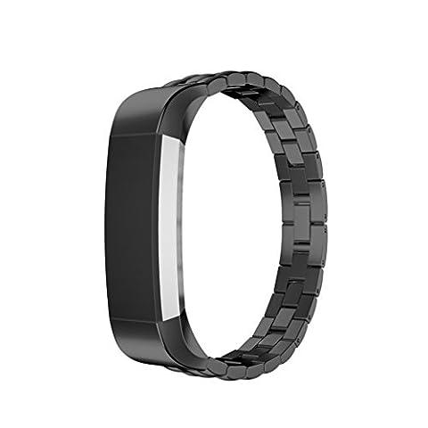 Fitbit Alta Band, 10principales réglable en acier inoxydable Sports Bracelet de montre bracelet Cristal, accessoires de remplacement pour Fitbit Alta/HR tracker de fitness M noir