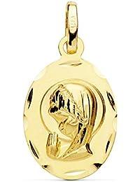 Medalla Virgen Niña Bisel Oro Amarillo 18 Kilates 19mm - Joya Personalizable, Grabado gratuito