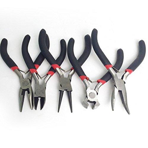 Onever 5pcs gioielli fai da te fare pinze set borda legare wrapping rotonda lungo bent strumento