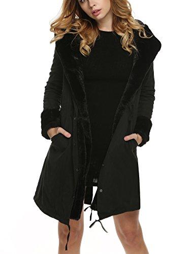Befied Damen Wintermantel Winterparka Pelzmantel Jacke Outwear Coat Dick Warm Knielang Mit Kunstfellkragen