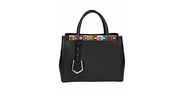 1d9ba6aec1a9 Fendi Women s 8BH253SL5F0JBX Black Leather Handbag  Amazon.co.uk  Clothing