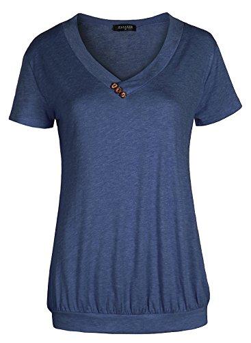 Fleasee Damen Frauen Casual T-Shirt Kurzarm Stretch Falten Tunika Bluse Sommer Obteile Shirts mit Knöpfen V-Ausschnitt (Dunkelblau/Gr.S)