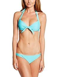 Miami Beach Swimwear Damen Push-up Bikini-Set, Blau (Aquarius 610), 38
