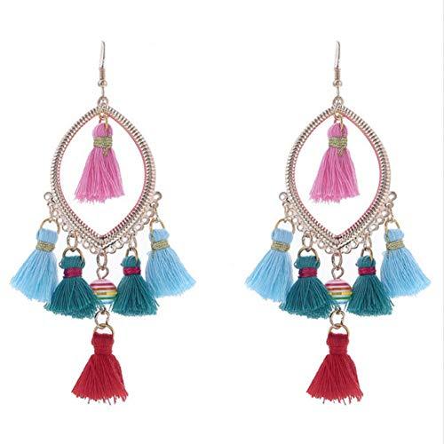 FLORVEY Ohrring Anweisung Drop Quaste Ohrringe Modeschmuck Maxi Brinco Bijoux Femme Fringe Perlen Vintage Ohrringe für Frauen Femme Fringe