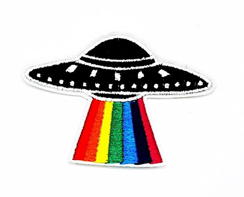 rabana UFO Rainbow Riders Cartoon Kids Kinder Cute Animal Patch für Heimwerker-Applikation Eisen auf Patch T Shirt Patch Sew Iron on gesticktes Badge Schild Kostüm (Custom Hero Kostüme)