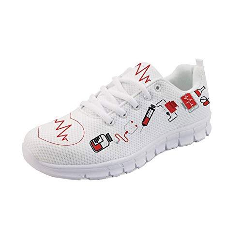 Showudesigns Damen Sneaker Mesh Atmungsaktive Leicht Turnschuhe Laufschuhe Sportschuhe Krankenschwester Schuhe Bär- Cartoon Bear - Weiß EU39