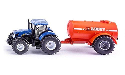 SIKU 1945, Traktor mit Ein-Achs-Güllefass, 1:50, Metall/Kunststoff, Blau/Orange, Kombinierbar mit SIKU Modellen im gleichen Maßstab