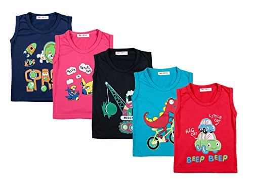 Kuchipoo Unisex Kids Vest Sleeveless Kids T-Shirt (1-2 Years, Pack of 5)