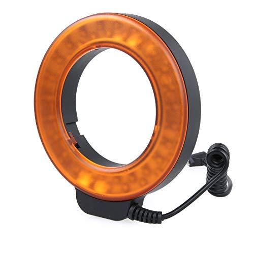 ZHAODONG Blitzzubehör Runder LED-Blitz mit 48 LED-Leuchten und 6 Adapterringen (49mm / 52mm / 55mm / 58mm / 62mm / 67mm) for Makroobjektiv (orange) (Farbe : Orange)