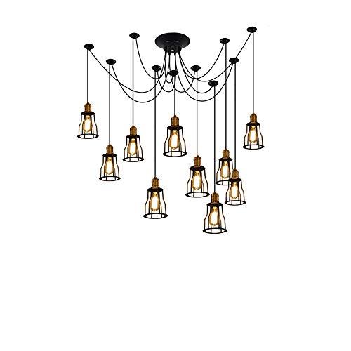 Kactera 6/8/10/12/14 Arms Spider Lampen Vintage Edison Style Eisen Metall verstellbare DIY Decke Spinne Anhänger Beleuchtung E27 rustikale Kronleuchter Esszimmer Beleuchtung for Esszimmer -