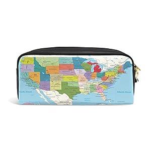 zzkko Educación Estados Unidos mapa funda de piel cremallera lápiz pluma estacionaria bolso de la bolsa de cosméticos bolsa bolso de mano