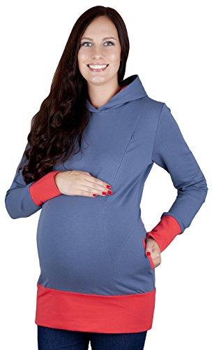 """Mija - 2 en 1 maternité et soins Pull jumper Top """"Mona"""" 1035 Jeans / Abricot"""