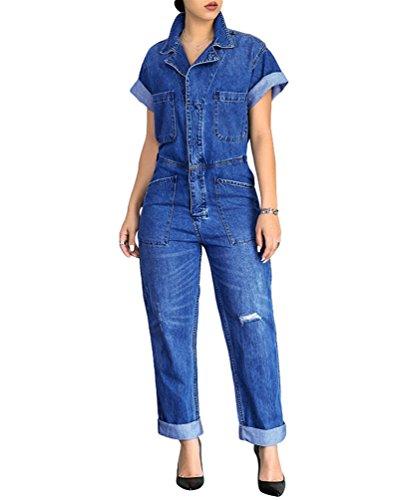 Linnuo donna retro manica corta denim jumpsuit tuta de risvolto casual jeans pantaloni romper con pulsante blu m
