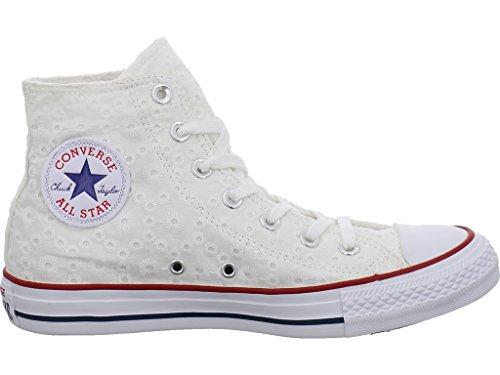 Converse Chucks 555978C Chuck Taylor All Star Eylet Strpie HI White Garnet Clematis Blue Weiss White/Garnet/Clematis Blue
