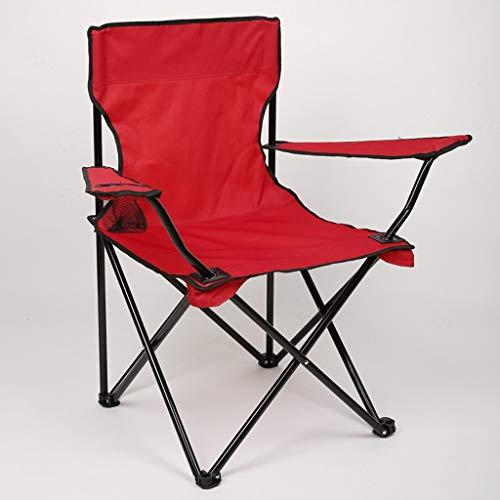 Grande Chaise Pliante d'accoudoir de pêche de Plage de Plage Sauvage de Tissu épais de Tuyau d'acier d'Oxford (Couleur : Red)