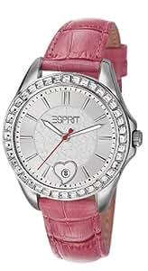 Esprit - ES106232003 - Montre Femme - Quartz Analogique - Cadran Argent - Bracelet Cuir Rose