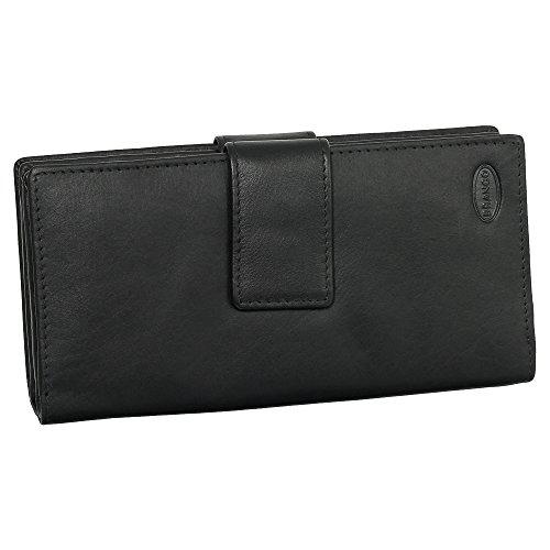 Leder Damen Geldbörse Portemonnaie Geldbeutel XXXL mit Reißverschluss 18,5 cm Farbe schwarz