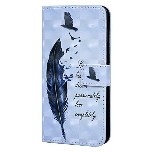 S10 Handyhülle Kompatible für Samsung Galaxy S10 Hülle Case Wallet Flip Cover Leder Tasche 3D Malen Muster Flipcase Schutzhülle Handytasche Skin Ständer Klapphülle Schale Bumper Mädchen-Feder Vogel2 - Wallet Skin Case