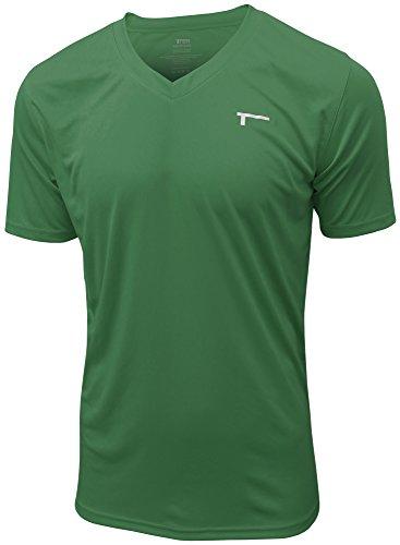 TREN Herren COOL Ultra Lightweight Polyester SS V-Neck Funktionsshirt T-Shirt Kurzarm Grün 310 - XXL
